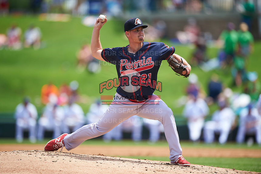 Peoria Chiefs starting pitcher Brennan Leitao (21) during the first game of a doubleheader against the South Bend Cubs on July 25, 2016 at Four Winds Field in South Bend, Indiana.  South Bend defeated Peoria 9-8.  (Mike Janes/Four Seam Images)
