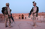 U.S. Army 4th Infantry Division soldiers patrol the excavated ruins of ancient Samarra, Iraq August 19,2003.