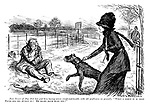 "Fair Owner of Dog (that has just been having severe rough-and-tumble with old gentleman on ground). ""What a mercy it is that Pluto has his muzzle on! He might have hurt you!"""