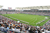 Fans watch the Galaxy's 2-0. victory over the Colorado Rapids at the opening day of the Home Depot Center, in Carson, Calif., Saturday June 7, 2003.