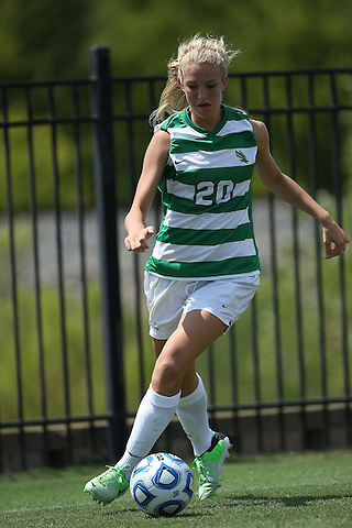 ARLINGTON, TX - AUGUST 25: Allison Harper #20 of the North Texas Mean Green - Houston Baptist vs North Texas Mean Green Soccer at Mean Green Village Soccer Field in Denton on August 25, 2013 in Denton, Texas. Photo by Rick Yeatts