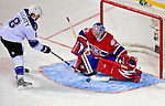 24 January 2009: Montreal Canadiens' goaltender Carey Price makes a save on Los Angeles Kings rookie defenseman Drew Doughty during the NHL YoungStars Game where the Rookies defeated the Sophomores 9-5 in the NHL SuperSkills Competition, part of the All-Star Weekend at the Bell Centre in Montreal, Quebec, Canada. ***** Editorial Sales Only ***** Mandatory Photo Credit: Ed Wolfstein Photo