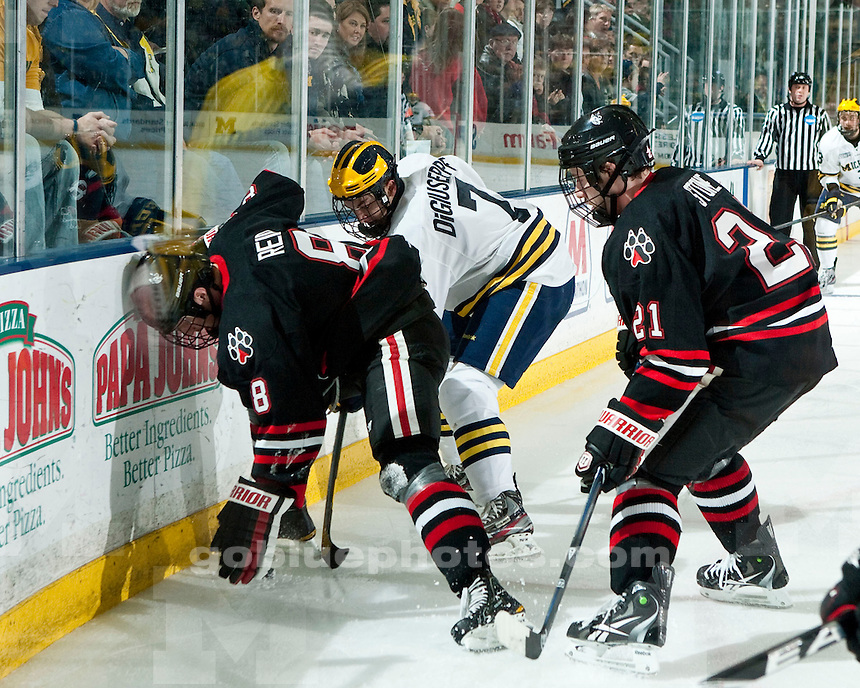 The University of Michigan men's hockey team lost 4-1 to Northeastern University at Yost Ice Arena in Ann Arbor, Mich., on November 25, 2011.