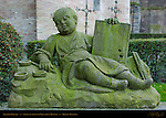 Sleeping Painter, Sculpture outside Gruuthuse Museum, Bruges, Brugge, Belgium