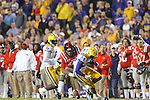 LSU cornerback Tharold Simon (24) breaks up a pass thrown to Ole Miss wide receiver Donte Moncrief (12) at Tiger Stadium in Baton Rouge, La. on Saturday, November 17, 2012. LSU won 41-35.....