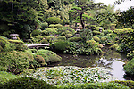 Photo shows  the Kakubuen garden that graces the Honma Museum of Art in Sakata, Yamagata Prefecture, Japan, on July 06, 2012. Construction of the garden was started in 1813. Photographer: Robert Gilhooly