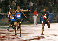 Wallace Spearmon winning the 200m at the Reebok Grand Prix at the Icahn Stadium,New York City. Photo by Errol Anderson,The Sporting Image.
