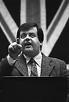 Martin Webster. National Front NF meeting after march through Birmingham suburb of Walsall North during a by election 1976...My ref 1976,
