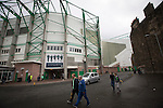 Hibernian 3 Alloa Athletic 0, 12/09/2015. Easter Road stadium, Scottish Championship. Fans walking past the Famous Five Stand at Easter Road stadium before the Scottish Championship match between Hibernian and visitors Alloa Athletic. The home team won the game by 3-0, watched by a crowd of 7,774. It was the Edinburgh club's second season in the second tier of Scottish football following their relegation from the Premiership in 2013-14. Photo by Colin McPherson.
