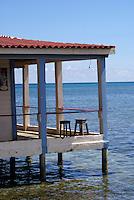 Two stools on the deck of Anastasia's restaurant and Bar on Big Corn Island, Nicaragua
