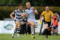 Harry Davies of Bath Rugby takes on the Yorkshire Carnegie defence. Pre-season friendly match, between Yorkshire Carnegie and Bath Rugby on August 13, 2016 at Ilkley RFC in Ilkley, England. Photo by: Ian Smith / Onside Images