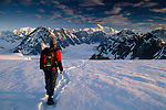 Trekker, Alaska Range, Denali National Park, Alaska