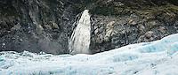 Victoria Falls with blue crevasses on Fox Glacier, Westland Tai Poutini National Park, West Coast, South Westland, UNESCO World Heritage Area, New Zealand, NZ