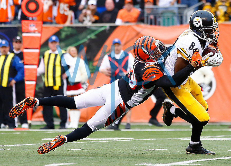 Antonio Brown #84 of the Pittsburgh Steelers is tackled by Leon Hall #29 of the Cincinnati Bengals after catching a pass during the game at Paul Brown Stadium on December 12, 2015 in Cincinnati, Ohio. (Photo by Jared Wickerham/DKPittsburghSports)