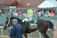 HOT SPRINGS, AR - APRIL 15: Classic Empire #2, with jockey Julien Leparoux aboard after winning the Arkansas Derby at Oaklawn Park on April 15, 2017 in Hot Springs, Arkansas. (Photo by Justin Manning/Eclipse Sportswire/Getty Images)