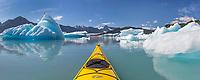 Panorma of Sea kayaking in Bear Glacier Lagoon, Kenai Fjords National Park, southcentral, Alaska.