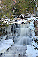 A winter view of the Laughing Whitefish falls in western Alger County. Michigan's Upper Peninsula.