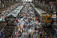 Churchgate Railway Station in Mumbai, India.