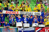 Krimovci, fans of Krim and Andrea Lekic of Gyori during handball match between RK Krim Mercator and Gyori Audi ETO KC (HUN) in 3rd Round of Group B of EHF Women's Champions League 2012/13 on October 28, 2012 in Arena Stozice, Ljubljana, Slovenia. (Photo By Vid Ponikvar / Sportida)