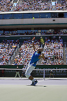 18 March 2007: Rafael Nadal (ESP) in blue defeated Novak Djokovic (SRB) 6-2, 7-5 on the main court at the 2007 Pacific Life Open Tennis Tournament in Indian Wells, CA on Sunday.