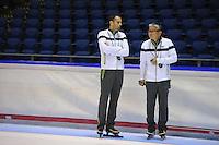 SCHAATSEN: HEERENVEEN: 15-09-2014, IJsstadion Thialf, Topsporttraining, Arjan Samplonius (trainer Team NewBalance), Toshiaki Imamura (trainer Team NewBalance), ©foto Martin de Jong