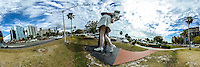 A statue of a sailor returning home from World War II. based on a famous photograph by Alfred Eisenstadt near the Bayshore, Sarasota, FL, March 2016.  360 degree panoramic scene photographed with a 360 degree camera.  (Photo by Brian Cleary/ www.bcpix.com)