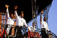 Four black americans waiters waiwing hello on the famous cast iron restaurant in the french quarter in New Orleans foto, reise, photograph, image, images, photo,<br /> photos, photography, picture, pictures, urlaub, viaje, vacation, imagen, viagi, stock