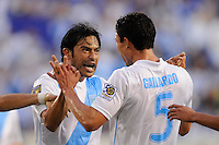Carlos Gallardo (5) of Guatemala  celebrates scoring with Carlos Ruiz (20). Guatemala defeated Grenada 4-0 during a CONCACAF Gold Cup group stage match at Red Bull Arena in Harrison, NJ, on June 13, 2011.