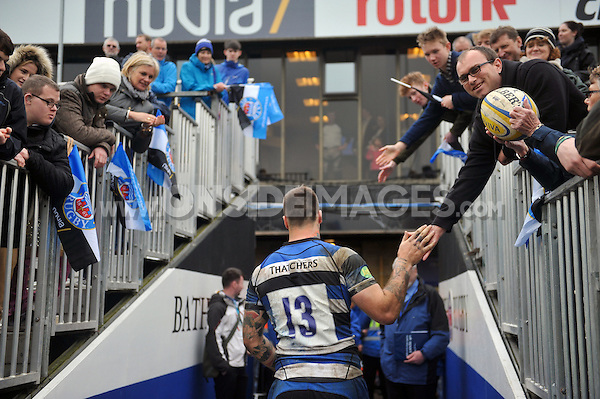 Matt Banahan leaves the field after the match. Amlin Challenge Cup quarter-final, between Bath Rugby and CA Brive on April 6, 2014 at the Recreation Ground in Bath, England. Photo by: Patrick Khachfe / Onside Images