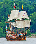 Replica of Henry Hudson's ship the Half Moon, seen sailing up the Hudson River on the 400th anniversary of Hudson's original voyage