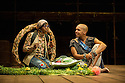London, UK. 17.05.12. Isango Ensemble present a programme of three productions, at the Hackney Empire: La Boheme, the Ragged Trousered Philanthropists, and Aesop's Fables. Picture shows: Luvo Rasemani (as Aesop) and Nolathando Boqwana (as the Tortoise).