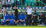 Hibs v St Johnstone.....30.04.11.Derek McInnes and Tony Docherty try to get messages to their players.Picture by Graeme Hart..Copyright Perthshire Picture Agency.Tel: 01738 623350  Mobile: 07990 594431