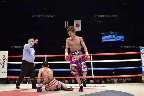 (R-L) Ryoichi Taguchi (JPN), Kwanthai Sithmorseng (THA),<br /> MAY 6, 2015 - Boxing :<br /> Ryoichi Taguchi of Japan knocks down Kwanthai Sithmorseng of Thailand in the fifth round during the WBA light flyweight title bout at Ota-City General Gymnasium in Tokyo, Japan. (Photo by Hiroaki Yamaguchi/AFLO)