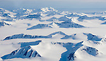 NY ÅLESUND, SVALBARD, NORWAY 20080626; Arial photo of mountains all covered with snow and glaciers at Svalbard. PHOTO by: TOM HANSEN