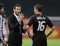 DC United head coach Ben Olsen gives instructions to forward Josh Wolff (16) .  DC United tied The Colorado Rapids 1-1, at RFK Stadium, Saturday  May 14, 2011.