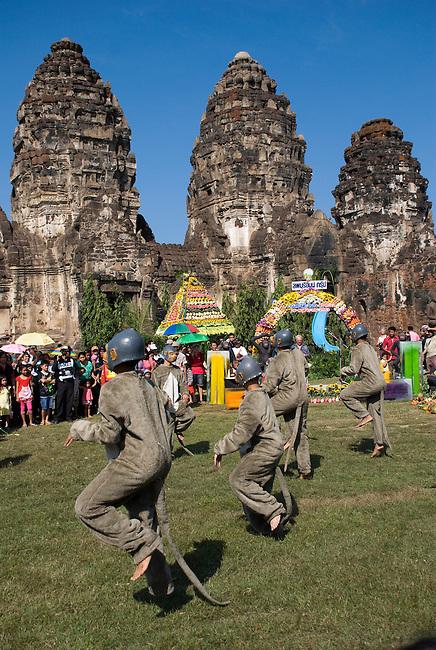 Monkey Festival Dancers in front of WAt Phra Prang Sam Yot