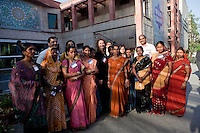 Melinda French Gates poses for a group portrait with local women from an organisation in the reception area after the talks at the India Islamic Cultural Centre during the TEDxChange @ TEDxDelhi in New Delhi, India on 22nd March 2011..