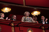 2016 Kennedy Center Honoree singer Mavis Staples waves at the beginning of the Kennedy Center Honors, at the Kennedy Center, December 4, 2016.  The 2016 honorees are: Argentine pianist Martha Argerich; rock band the Eagles; screen and stage actor Al Pacino; gospel and blues singer Mavis Staples; and musician James Taylor.<br /> Credit: Aude Guerrucci / Pool via CNP