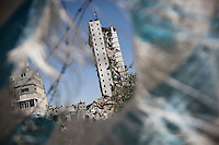 "August 26, 2014 - Gaza City, Gaza strip, Palestinian Territory: The rests of a high-rise buildiing is seen after it was targeted by an airstrike night raid in central Gaza City as ""Protective Edge"" Israeli military operation continues in the Gaza strip. (Narciso Contreras/Polaris)"