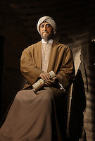 Model of Maimonides, 1135-1204, Jewish philosopher and astronomer, holding a scroll, from the Museo Vivo de Al-Andalus in the Torre Calahorra, Cordoba, Andalusia, Southern Spain. The historic centre of Cordoba is listed as a UNESCO World Heritage Site. Picture by Manuel Cohen