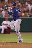 08/16/11 Anaheim, CA: Texas Rangers shortstop Elvis Andrus #1 during an MLB game played between the Texas Rangers and the Los Angeles Angels at Angel Stadium. The Rangers defeated the Angels 7-3.