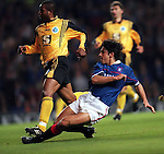 Rino Gattuso scores his first Rangers goal as he hits the net against Strasbourg at Ibrox