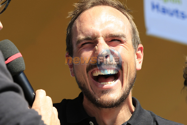 John Degenkolb (GER) Trek-Segafredo at the Team Presentation for the upcoming 115th edition of the Paris-Roubaix 2017 race held in Compiegne, France. 8th April 2017.<br /> Picture: Eoin Clarke | Cyclefile<br /> <br /> <br /> All photos usage must carry mandatory copyright credit (&copy; Cyclefile | Eoin Clarke)
