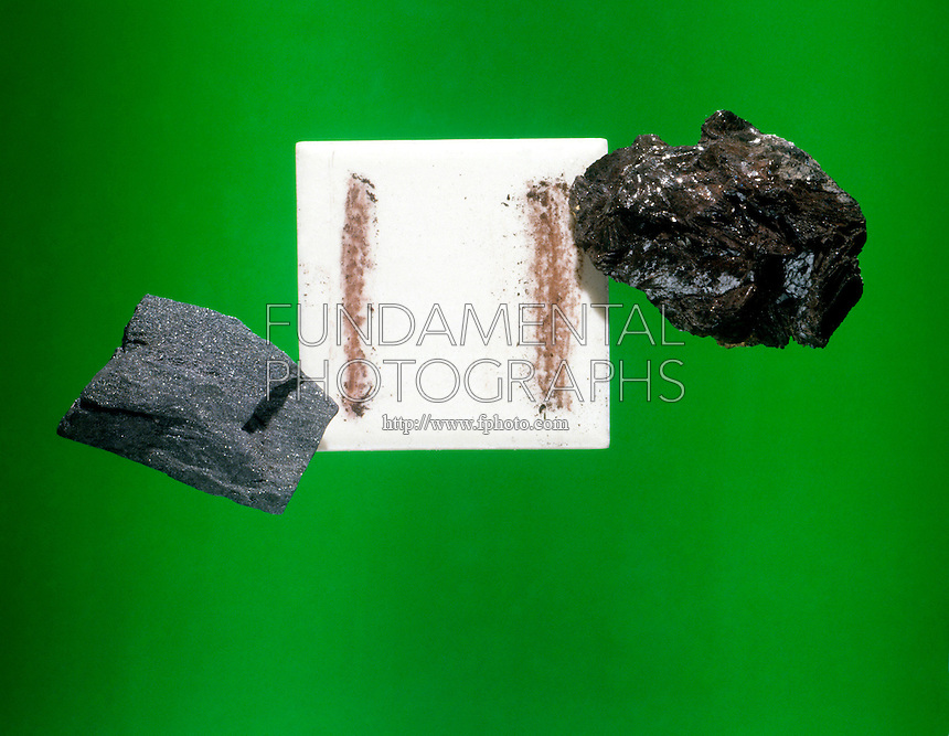 STREAK TEST: RED &amp; BLACK HEMATITE<br /> Fe2O3; simple iron oxide.  Black hematite (specular variety) and red hematite both leave rust colored streaks.
