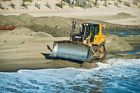 Rebuilding eroded beaches, Nags Head, Outer Banks, North Carolina, USA