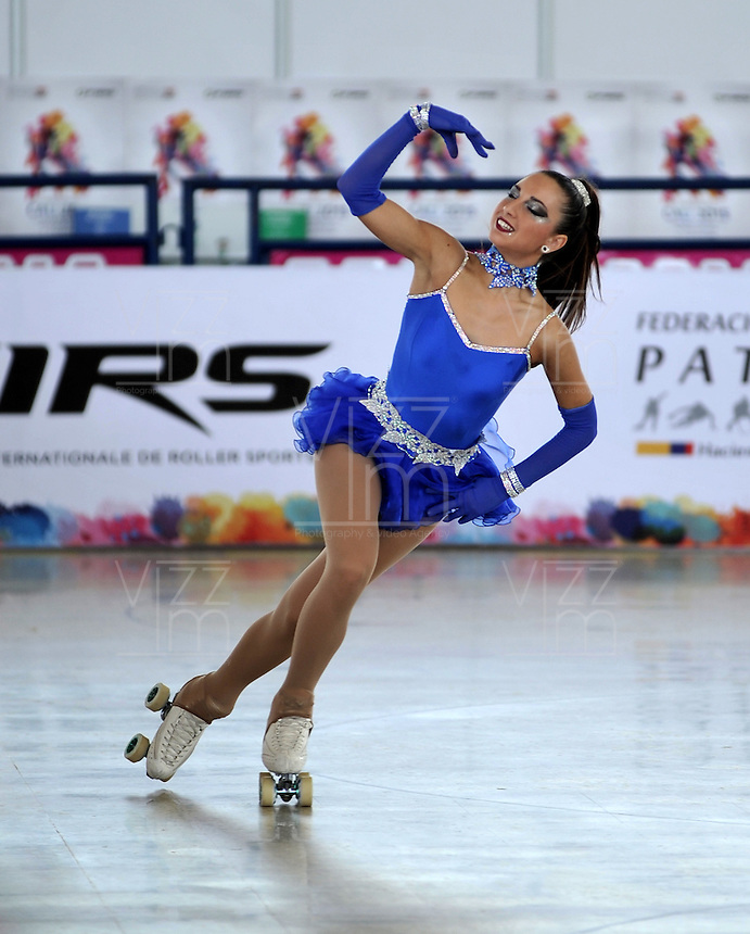 CALI - COLOMBIA - 19 - 09 - 2015: Sara Zaggia, deportista de Italia, durante la prueba de Solo Danza Obligatorias Damas Juvenil, en el LX Campeonato Mundial de Patinaje Artistico, en el Velodromo Alcides Nieto Patiño de la ciudad de Cali. / Sara Zaggia, sportwoman of Italy, during the Compulsory Solo Dance Junior Ladies  test, in the LX World Championships  Figure Skating, at the Alcides Nieto Patiño Velodrome in Cali City. Photo: VizzorImage / Luis Ramirez / Staff.