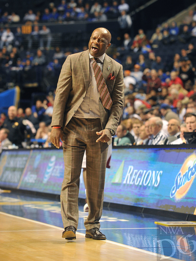 NWA Democrat-Gazette/Michael Woods --03/14/2015--w@NWAMICHAELW... University of Arkansas coach Mike Anderson reacts to a call during the second half of the Razorbacks 60-49 win in Saturdays game against the Georgia Bulldogs at the 2015 SEC basketball tournament at Bridgestone Arena in Nashville.