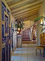 Entry Door, Hallway, Wood Beam Ceiling, Art Work, Statues, Tiled Floor