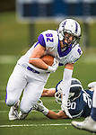 8 October 2016: Amherst College Purple & White Tight End Rob Thoma, a Senior from Franklin Lakes, NJ, in action against the Middlebury College Panthers at Alumni Stadium in Middlebury, Vermont. The Panthers edged out the Purple & While 27-26. Mandatory Credit: Ed Wolfstein Photo *** RAW (NEF) Image File Available ***