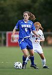 07 October 2007: Duke's Kelly Hathorn (6) and NC State's Alex Berger (2). The Duke University Blue Devils defeated the North Carolina State University Wolfpack 1-0 at Method Road Soccer Stadium in Raleigh, North Carolina in an Atlantic Coast Conference NCAA Division I Women's Soccer game.